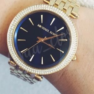 "MICHAEL KORS ""DARCI"" BLUE & CRYSTAL WATCH"